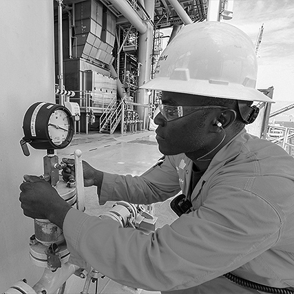 Afri-inspect inspector carrying out calibration test onboard an FPSO vessel